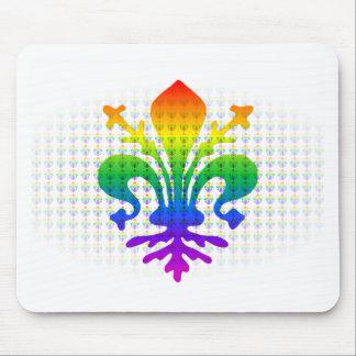 Rainbow Fleur-de-lis Mouse Pad