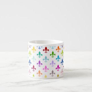 Rainbow fleur de lis pattern espresso mug