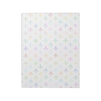 Rainbow fleur de lis pattern notepads