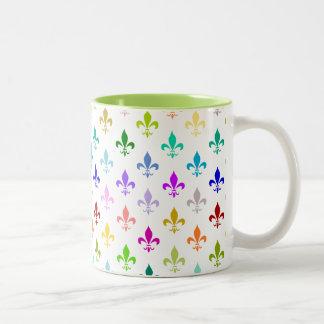 Rainbow fleur de lis pattern Two-Tone mug