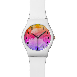 Rainbow Floral Abstract Dahlia Garden Flowers Wristwatches