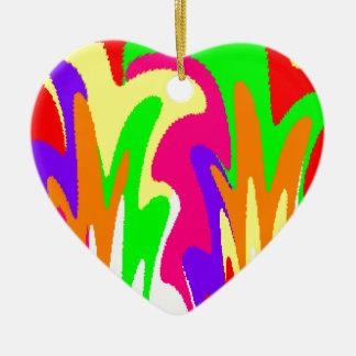 Rainbow Floral Ceramic Heart Decoration