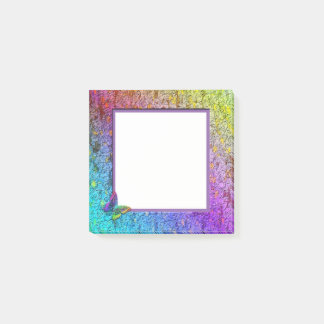 [Rainbow Floral Frame] Abstract w/Butterfly Post-it® Notes