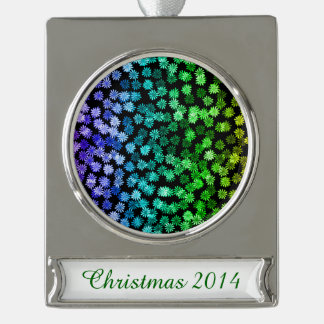 Rainbow Floral Pattern Silver Plated Banner Ornament
