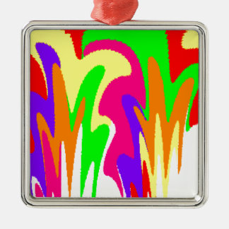Rainbow Floral Silver-Colored Square Decoration