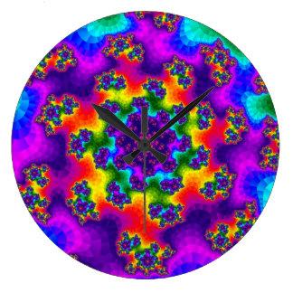 Rainbow Floral Sprinkles Large Clock
