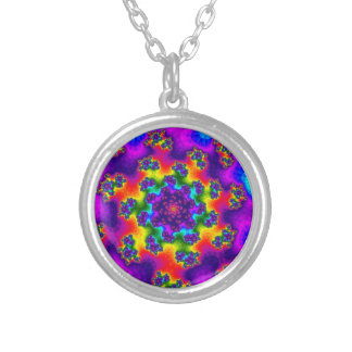 Rainbow Floral Sprinkles Small Round Necklace