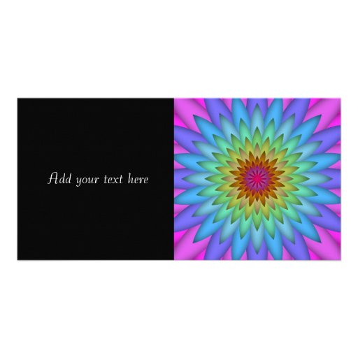 Rainbow Flower Abstract Art Picture Card