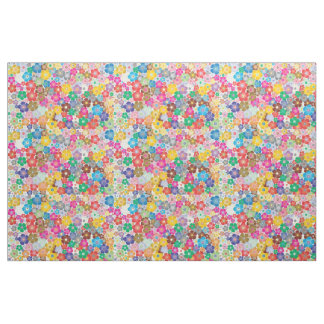 Rainbow flower blooms print fabric