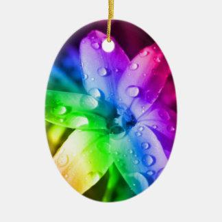 Rainbow flower ceramic oval decoration