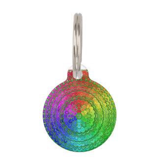 Rainbow Flower Mandala Pet Name Tag