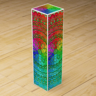 Rainbow Flower Mandala Wine Box