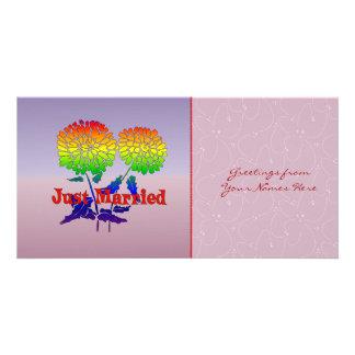 Rainbow Flower Marriage Photo Card Template
