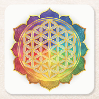 Rainbow Flower of Life Coaster