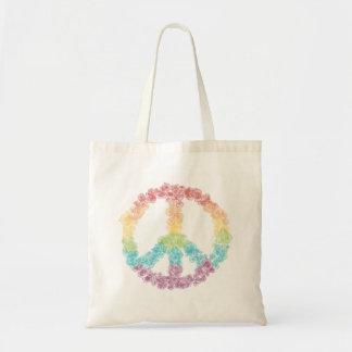Rainbow Flower Peace Sign Tote Bag