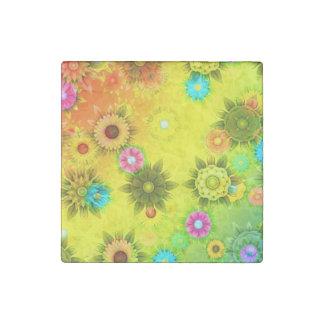 Rainbow Flower Power Stone Magnet