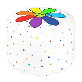 Rainbow Flower Round Pouf
