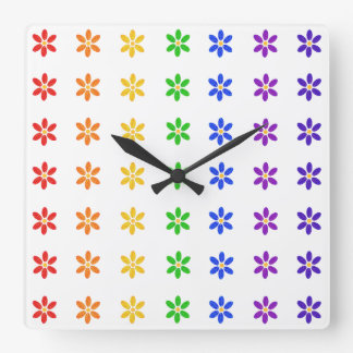Rainbow Flowers Modern Clock