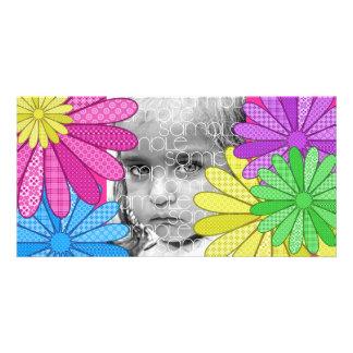 RAINBOW FLOWERS PERSONALIZED PHOTO CARD