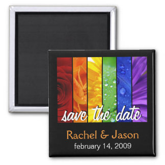 Rainbow Flowers   Save the Date Square Magnet