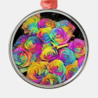 Rainbow flowers Silver-Colored round decoration