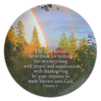 Rainbow Forest Christian Scripture Bible Verse Plate