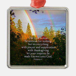 Rainbow Forest Christian Scripture Bible Verse Silver-Colored Square Decoration