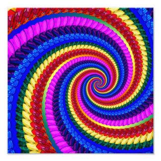Rainbow Fractal Art Swirl Pattern Photographic Print