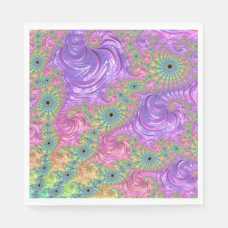 Rainbow Fractal Disposable Napkin