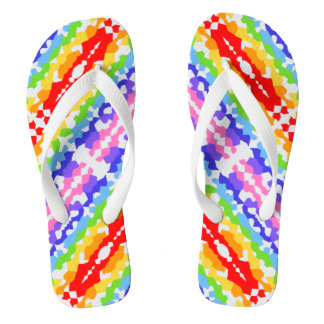 Rainbow Fractal Mosaic Pattern Thongs