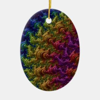 Rainbow Fractal Ripples Ceramic Oval Decoration