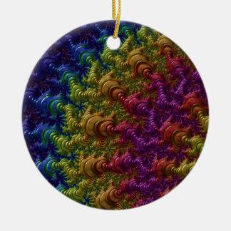 Rainbow Fractal Ripples Round Ceramic Decoration