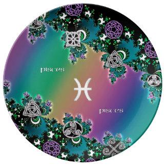 Rainbow Fractal Zodiac Sign Pisces Porcelain Plates