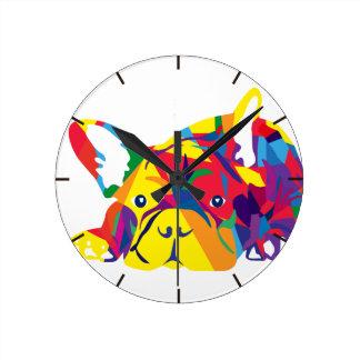 Rainbow French Bulldogge Round Clock