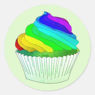 Rainbow Frosting Cupcake Classic Round Sticker