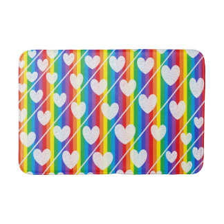 Rainbow Full of Hearts Bath Mats