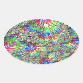 Rainbow Fusion Fractal Oval Sticker