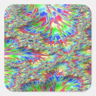 Rainbow Fusion Fractal Square Sticker