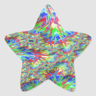 Rainbow Fusion Fractal Star Sticker