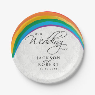 Rainbow Gay - Our Wedding Day 7 Inch Paper Plate