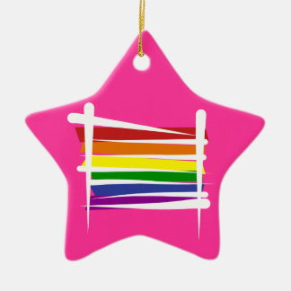 Rainbow Gay Pride Brush Flag Ceramic Star Decoration
