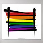 Rainbow Gay Pride Brush Flag Poster