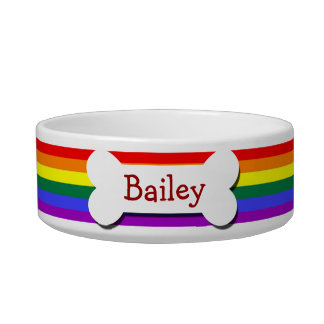 Rainbow Gay Pride Dog Bone Bowl