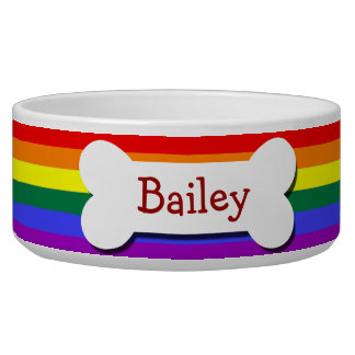 Rainbow Gay Pride Dog Bone Pet Water Bowl