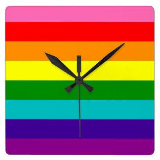 Rainbow Gay Pride LGBT Original 8 Stripes Flag Square Wall Clock