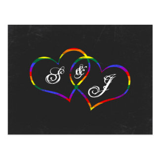 Rainbow Gay Pride Love Hearts Song Request Postcard