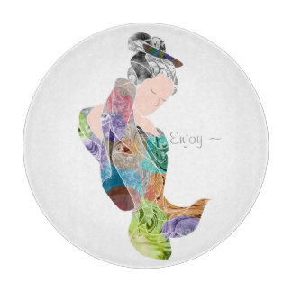 Rainbow Geisha Maiden Decorative Sushi Serving Cutting Board