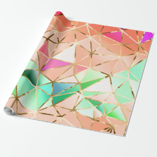 Rainbow geometric pattern wrapping paper