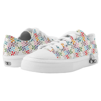 Rainbow Geometric Pinwheel Pattern Low Tops