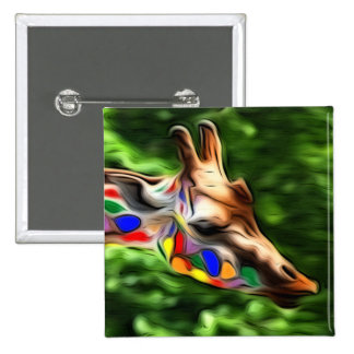 Rainbow Giraffe Pinback Button